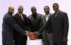 Slam Dunk Champions of All Time! Vince Carter, Dr. J-Julius Erving, Michael Jordan, Kobe Bryant, and Dominique Wilkins.