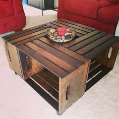 Large Vintage Rustic Country Primitive Style Storage Crate Coffee Table On Wheels