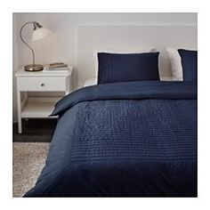 IKEA - ALVINE STRÅ, Duvet cover and pillowcase(s), Full/Queen (Double/Queen), , The combed cotton gives the bed linen an extra smooth and even surface which feels soft against your skin.Extra soft and durable quality since the bedlinen is densely woven from fine yarn.The stitched pleats add a soft texture and variation to the top side.Concealed snaps keep the comforter in place.