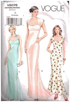 Sz - Vogue Dress Pattern - Misses' Fit and Flare, Raised Waist Dress with Godets in Three Variations - Vogue Patterns Wedding Dress Sewing Patterns, Formal Dress Patterns, Vogue Dress Patterns, Vogue Sewing Patterns, Clothes Patterns, Fashion Patterns, Skirt Patterns, Pattern Sewing, Coat Patterns