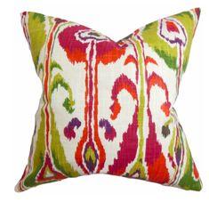 """Linen & Seam Gudrun Ikat Pillow Pink -18''x 18""""-Polyester insert Ikat Bedding, Ikat Pillows, Modern Throw Pillows, Accent Pillows, Decorative Throw Pillows, Floor Pillows, Scatter Cushions, Feather Pillows, Ikat Pattern"""