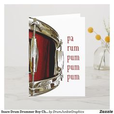 "This beautiful drummer Christmas Card features a red snare drum and the caption ""pa rum pum pum pum"" from the Little Drummer Boy - perfect for musicians and music lovers! #drummerchristmas #snaredrum #drumsticks #drumjunkie"