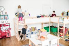 Love that they created a play area under one bunk bed and three siblings can share this room.