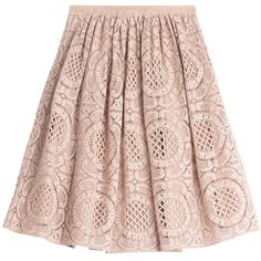 Burberry London Floral Lace Cotton Skirt ($375) ❤ liked on Polyvore featuring skirts, bottoms, day skirts, rose, women, pink a line skirt, cotton skirt, cotton knee length skirt, pink pleated skirt and a line skirt