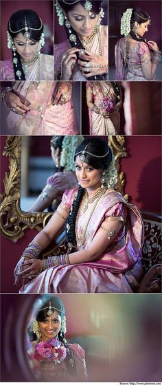 How To Look Like A Beautiful South Indian Bride? | Bridal Sarees. beautiful bride in a traditional kanjivaram saree with puffed short sleeve blouse design. Kundan jewellery absolutely compliments the over all look of the bride.