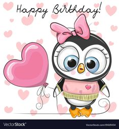 Cute Cartoon Penguin Girl with a balloon. On a hearts background stock illustration Penguin Pictures, Cute Pictures, Owl Cartoon, Cute Cartoon, Free Happy Birthday Cards, Baby Shower Greeting Cards, Penguin Drawing, Cute Animal Clipart, Kitty Images