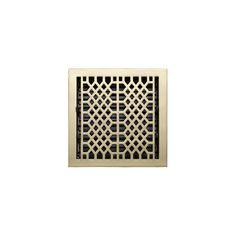 """Antique Style Floor Register - Polished Brass 12"""" x 12"""" (14"""" x 13-3/8"""" Overall)"""