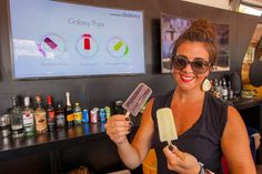"At a bar at the Samsung Galaxy Owner's Lounge, guests could order frozen treats using the GS6 Edge device. The flavors were designed to represent different musical tastes. The ""R&B"" treat had a raspberry-rose flavor, for example, while ""Rock"" was honeydew-ginger."