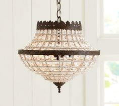 Dalila Beaded Crystal Chandelier. If instead of dark brown or black metalwork they had made it a golden color this would be a truly beautiful piece.