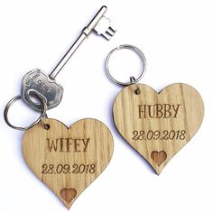 Wooden Heart Shaped Keyrings (Personalised). Unique wedding, birthday, anniversary, Christmas gift.