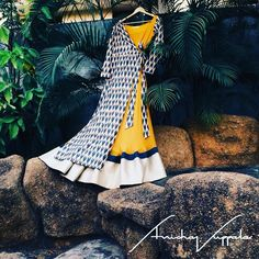 The one sided lapel ikat jacket paired with a mustard anarkali. Wear as #separates #anishavuppalaofficial #downmemorylane #anarkali #fusion #ikatjacket