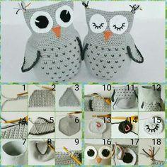 Gufo amigurumi crochet Owl Crochet Pattern Free, Crochet Owls, Crochet Borders, Crochet Home, Crochet For Kids, Crochet Crafts, Crochet Projects, Knit Crochet, Amigurumi Patterns