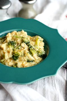 Cheesy broccoli chicken rice made easy in the slow cooker!