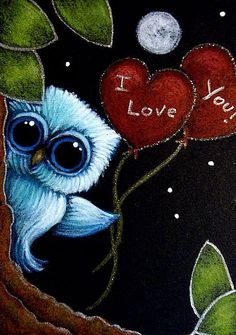 Art: LITTLE BLUE OWL - I LOVE YOU HEART BALLOONS by Artist Cyra R. Cancel