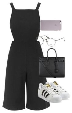 """Başlıksız #1250"" by zeynep-yagmur ❤ liked on Polyvore featuring Topshop, Yves Saint Laurent, Ray-Ban and adidas Originals"