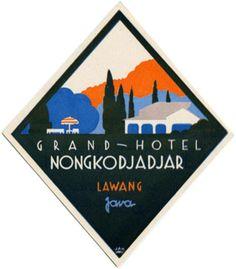 Luggage label of Grand Hotel Nongkodjadjar, Lawang, date unknown