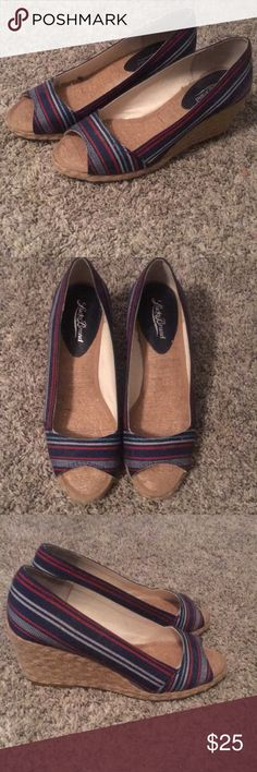 Cute lucky shoes Never worn size 8M, navy white red and thin light blue stripe, super cute! Lucky Brand Shoes Wedges
