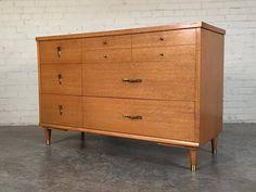 Mid-Century Modern 6-Drawer Dresser / Credenza With Brass