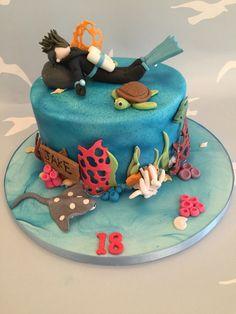 Scuba Diving Cake - http://www.cakebysadiesmith.co.uk/celebration-cakes/scuba-diving-cake-2/