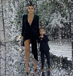 Kourtney Kardashian finally reveals the VERY low-cut Xmas dress Kim Kardashian And Kanye, Kardashian Jenner, Kardashian Fashion, Kardashian Photos, Kardashian Family, Scott Disick Girlfriend, Beaded Gown, Night Outfits, Mom Style
