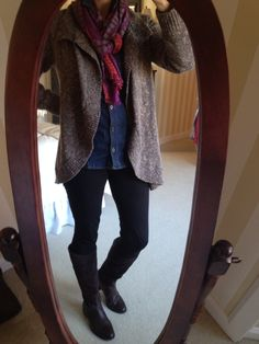Another cozy outfit for Fall! CAbi Fall 2014 Swear By Sweater, McQueen Denim Shirt, Ponte Leggings and Bissou Scarf