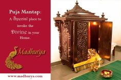 #Furniture #Traditional and #auspicious: Puja mantap basking with a swarm of aesthetic motifs signifying spiritual & material well-being in life.. #Mystic wooden sculpting at the pinnacle!  Order now : interiors@madhurya.com   www.madhurya.com