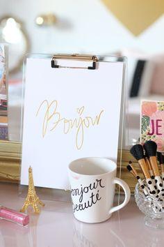 Russell + Hazel Acrylic Clipboard - Hattan Home - 2 Gold Foil Print, Home Office Decor, Desk Office, Office Spaces, Office Ideas, Desktop Accessories, Paris, Decoration, Interior Styling