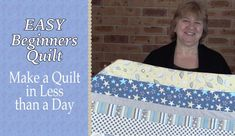 Very easy! Quilting for Beginners - Easiest Quilt for Beginners Ever (Quilting Tuto. Jelly Roll Quilt Patterns, Beginner Quilt Patterns, Quilting For Beginners, Quilting Tips, Sewing Projects For Beginners, Quilting Tutorials, Craft Tutorials, Quilting Projects, Beginning Quilting