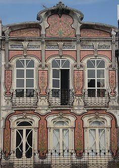 Art Nouveau building in Aveiro, Portugal Art Nouveau Architecture, Architecture Details, Regions Of Europe, Art Deco, Traditional Tile, Nova, Building Art, Beautiful Buildings, Construction