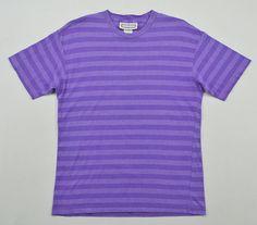 Vintage 90s Mixed Blues Purple Striped T Shirt Men Medium Surf Skateboard T-Shirt Made in Usa