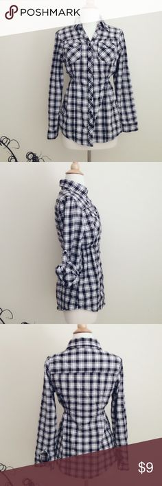 """Plaid button-down shirt A black and white plaid shirt, roll-up sleeves, two chest pockets, stretchy elastic on both side of higher waist. Junior size L, ( general length is approx 26 1/2"""") bundle to save extra 25%! FashionWeb Tops Button Down Shirts"""