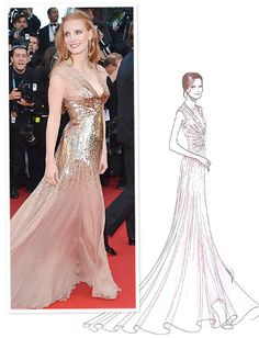 Jessica Chastain in Gucci of 'Lawless' at the 65th Annual Cannes Film Festival held at La Plage Baoli: Sketch to Reality!