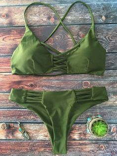 SHARE & Get it FREE | Lace-Up Cutout Strappy Bikini Set - GreenFor Fashion Lovers only:80,000+ Items • New Arrivals Daily Join Zaful: Get YOUR $50 NOW!