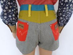 NOS Vintage 1960's 70's PeTeR MaX Wrangler CoLoR-BLoCkeD PaTcHwOrK HoT PaNts SHoRtS S M - Deadstock - Never Worn