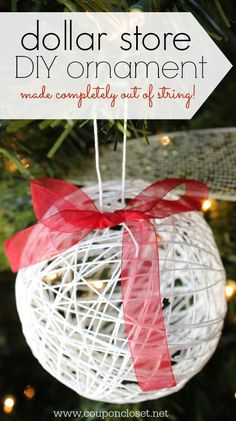 DIY Christmas Ornaments - How to make a String Ornament I made this entire ornament out of string from the Dollar Store - Homemade Ornaments don't have to be expensive or time consuming. Read how easy it is to make this homemade Christmas Ornament. Dollar Store Christmas, Christmas Ornaments To Make, Christmas Crafts For Kids, How To Make Ornaments, Simple Christmas, Christmas Projects, Holiday Crafts, Christmas Holidays, Christmas Decorations