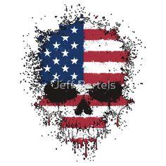 Chaotic American Flag Splatter Skull by Jeff Bartels
