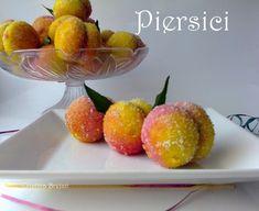Reteta culinara Piersici din categoria Prajituri. Cum sa faci Piersici Romanian Desserts, Romanian Food, Marzipan, Sweet Treats, Deserts, Strawberry, Food And Drink, Cooking Recipes, Peach