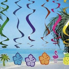 "Amazon.com: 6 LUAU Swirl DECORATIONS/Hanging SPIRALS/PALM Tree/HIBISCUS/Pineapple/FLAMINGO/TROPICAL PARTY DECOR/30"": Everything Else"