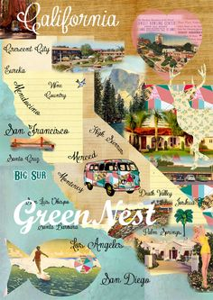 Vintage California Map Collage  As a California Girl, i approve :)