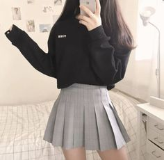 30 √Cute Korean Outfits That You Must Have In Your Wardrobe 5 - censiblehome Korean Girl Fashion, Korean Fashion Trends, Ulzzang Fashion, Korean Street Fashion, Korea Fashion, Edgy Outfits, Cute Casual Outfits, Pretty Outfits, Fashion Outfits