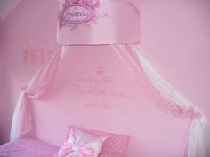 Disney themed princess canopy with once upon a time there was a little princess named (your childs name)