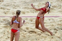 America's Misty May-Treanor and Kerri Walsh Jennings have made Olympic history, defeating compatriots Jen Kessy and April Ross to claim their third consecutive women's beach volleyball title. Women Volleyball, Beach Volleyball, Volleyball Pictures, Misty May Treanor, Kerri Walsh Jennings, Us Olympics, True Grit, Olympic Champion, Sports Photos