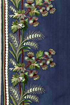 French silk embroidery This is the alternative to get those complex borders embroidery that could be curved around a flared hem. Embroidery Needles, Silk Ribbon Embroidery, Vintage Embroidery, Beaded Embroidery, Embroidery Patterns, Machine Embroidery, Floral Embroidery, Motifs Textiles, Art Textile