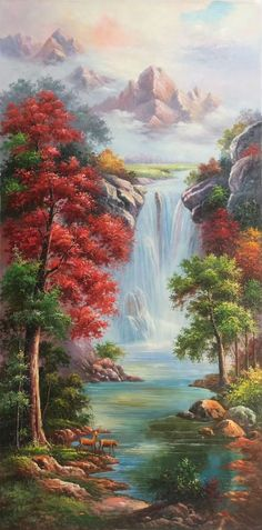 hand-made oil painting,decoration,mural. Beautiful Nature Wallpaper, Beautiful Paintings, Beautiful Landscapes, Beautiful Wall, Watercolor Landscape, Landscape Art, Landscape Paintings, Waterfall Paintings, Mural Art