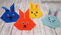 DIY Crafts for Kids - Easter Crafts - How to Make Origami Rabbits + Tuto. How To Make Origami, Useful Origami, Diy Origami, Easter Art, Easter Crafts For Kids, Easter Bunny, Easter Ideas, Kirigami, Origami Box Tutorial