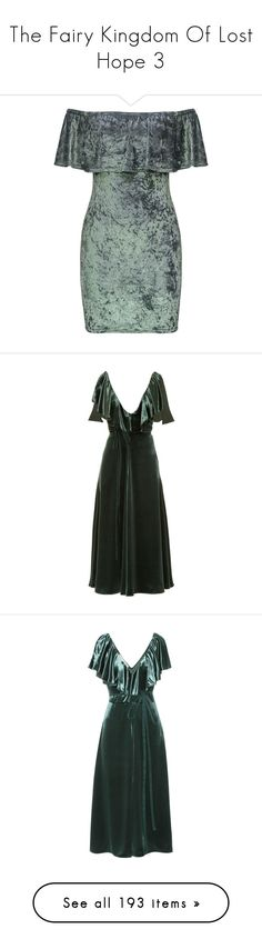 """The Fairy Kingdom Of Lost Hope 3"" by ellecrewe ❤ liked on Polyvore featuring dresses, gray cocktail dress, velvet bodycon dress, off the shoulder dress, body con dresses, off the shoulder ruffle dress, gowns, valentino, green and green cocktail dress"