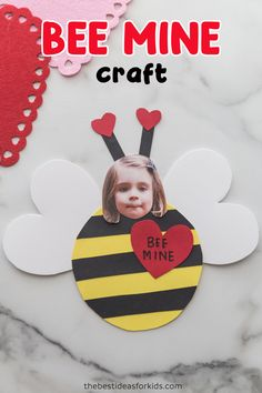 This adorable Valentine bee craft comes with a free printable template. Add a message Bee Mine to the front or even make it a card by writing on the back! Toddler Valentine Crafts, Valentines Day Activities, Valentines For Boys, Toddler Crafts, Walmart Valentines, Valentine Party, Valentine Ideas, Diy Crafts For Teen Girls, Valentine's Day Crafts For Kids