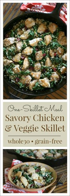 Quick meals like this One-Skillet Savory Chicken & Veggies dishmakes it a whole lot easier to stay on track for a healthy dinner! {and delicious Whole30!} The last day of school officially mar…