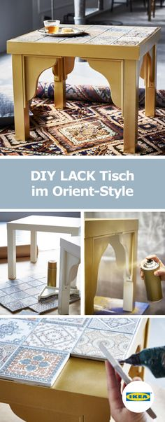 IKEA Germany DIY table in oriental style The post IKEA Germany DIY table in oriental style appeared first on Garden ideas - Upcycled Home Decor Lego Table Diy, Home Diy, Ikea Diy, Furniture Makeover, Ikea Table, Diy Table, Upcycled Home Decor, Ikea Lack Table, Diy Home Decor