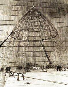The nose piece of the R101 airship under construction at the Royal Airship Works at Cardington, Bedfordshire, England - 17 May 1929